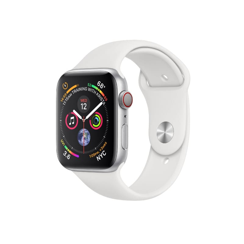 Apple Watch Series 4 MTUD2 GPS+Cellular корпус 40 мм, серебристый алюминий, спортивный ремешок белого цвета