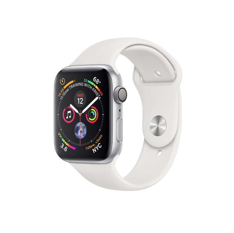 Apple Watch Series 4 MU6A2 GPS корпус 44 мм, серебристый алюминий, спортивный ремешок белого цвета